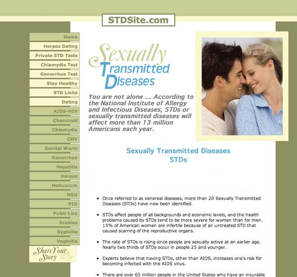 Go to STDsite.com for more information on STD's